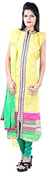 JYOTI Women's Kora Silk Unstiched salwar Suit (JBAM-23, Yellow)