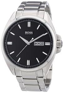 Hugo Boss - 1512878 - Montre Homme - Quartz Analogique - Cadran Noir - Bracelet Acier Argent
