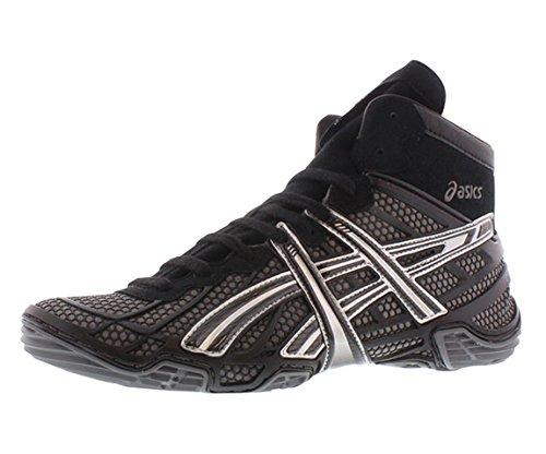 ASICS Men's Dan Gable Ultimate 2 Wrestling Shoe,Black/Charcoal/Silver,9.5 M US