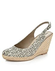 Slingback Espadrille Wedge Shoes
