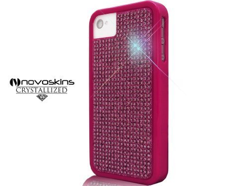 iPhone 4S / 4 Novoskins Pink Rosa Cristallo Chic Pink Rosa Luxe Hard Case with Crystallised Home Button SALE + Caso libero Umix