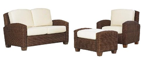 Buy Low Price Home Styles 3pc Woven Sofa Chair, Ottoman and Loveseat Set in Cocoa Finish (VF_HY-5402-200)