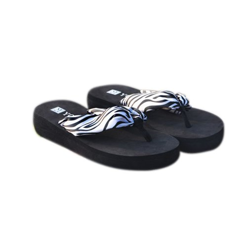 Toptie Women'S Bohemia Beach Flip Flops Flower Sandals Black-L