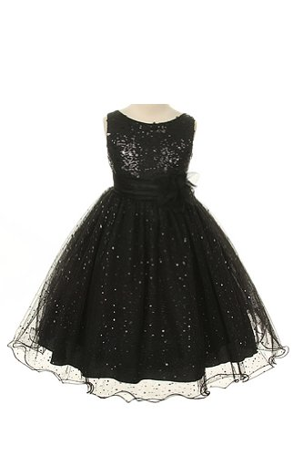 Girl'S Sequin & Glitter Tulle Special Occasion Holiday Pageant Dress - Black 4 front-1003144