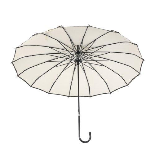 "Remedios 35"" Vintage Hook Handle Stick Pagoda Nylon Sun Parasol Wedding Umbrella, Ivory 1"