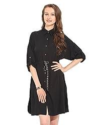 Black Solid Polyester Skater Dress Large