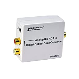J-Tech Digital Premium Quality RCA L/R Analog Audio to Optical SPDIF/Coaxial Digital Converter with 3.5mm Jack Support Headphone/Speaker Outputs (Analog to Digital)