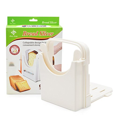Bread Slicer Toast Slicer Yummy Sam@ Toast Cutting Guide Bread Toast Bagel Loaf Slicer Cutter Mold Sandwich Maker Toast Slicing Machine Folding and Adjustable with 5 Slice Thicknesses (Bread Machine Bagels compare prices)
