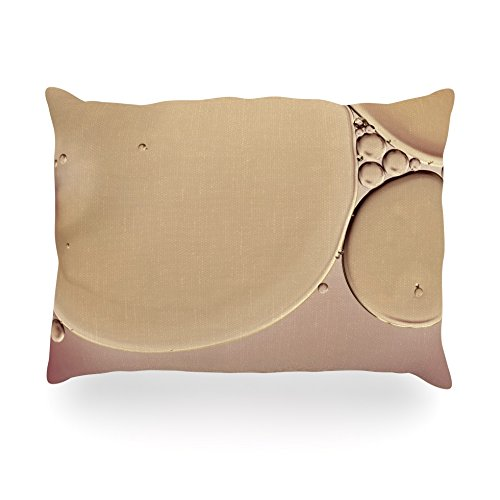 "Kess Inhouse Ingrid Beddoes ""A Touch Of Pink"" Tan Oblong Rectangle Outdoor Throw Pillow, 14 By 20-Inch front-992248"