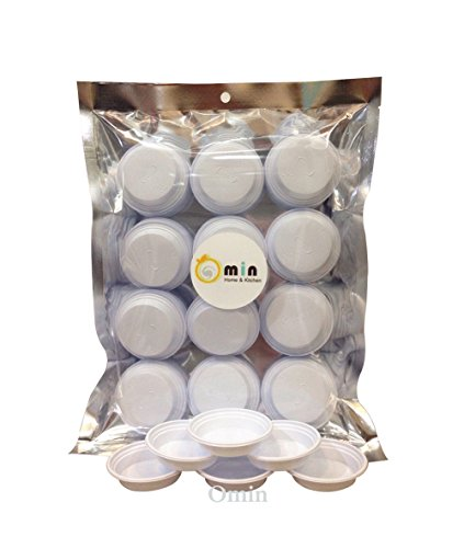 Omin White Plastic Diposable Dipping Sauce Dishes Dia 2.5 Inch Pack of 75 Free 25 You Get 100 Pieces