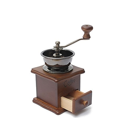 Classical Wooden Mini Coffee Grinder Manual Stainless Steel Retro Coffee Spice Mill (Antique Wall Mount Coffee Grinder compare prices)