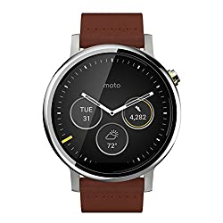 Motorola Moto 360 2nd Gen. - Mens 46mm Silver with Cognac Leather