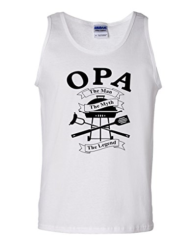 OPA The Man The Myth The Legend Barbeque BBQ Men's Tank T Shirts White 2XL (Bbq Shirt Men compare prices)