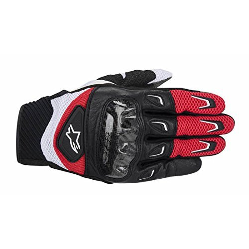 NEW ALPINESTARS SMX-2 AIR CARBON ADULT LEATHER GLOVES, RED/BLACK, LARGE/LG