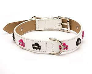Enamel Skull Crystal Straight Dog Collar, Extra Small Size 8, White Patent with Pink and Black Crystal Skulls