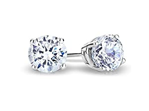 Black Friday Deal - 15% off on Solitaire Real 14k White Gold Round Diamond Stud Earrings (Color- HI Clarity I1) (0.04 carats)
