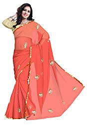 GiftPiper Pure Chiffon Aari Work Saree- Carrot Color