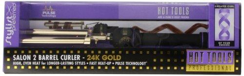 Hot Tools HTG1855 Salon 2 Barrel Curler, Gold/Black