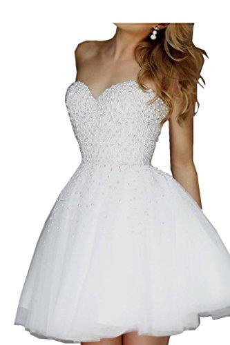 Promgirl House kurzes weißes Kleid Damen Beliebt A-Linie Perlen