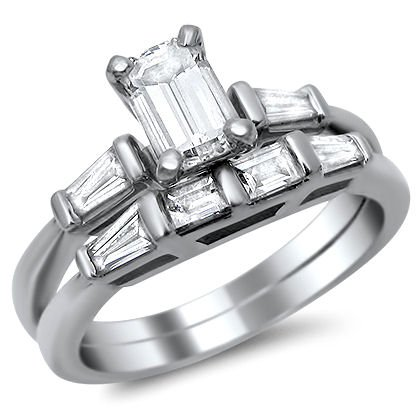 -2 .90Ct Emerald Cut Diamond Engagement Ring Bridal Set 18K White Gold