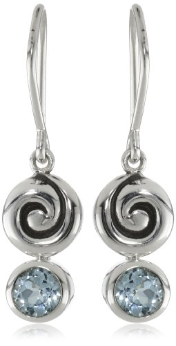 Zina Sterling Silver Swirl Drop Earrings With Blue Topaz