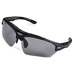 Duduma® Polarized Fashion Designer Sports Sunglasses for Cycling Running Baseball Fishing Tr628 Superlight Frame (black matte frame with black lens)