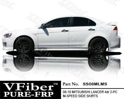 SS08MLMS-Mitsubishi Lancer 08-10 4dr VFiber FRP M-Speed 2-piece Side Skirts