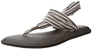 Sanuk Women's Yoga 2 Prints Flip Flop,Charcoal/Natural Stripes,7 M US
