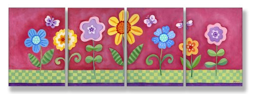 The Kids Room by Stupell Flower Garden on Pink Background 4-Pc. Rectangle Wall Plaque Set - 1