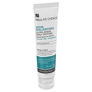 Paula's Choice Skin Balancing Ultra-Sheer Daily Defense SPF 30 Oil-Free Moisturizer with Antioxidants for Oily Skin - 2 oz