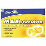 Beechams max strength sore throat relief lemon+honey 20 lozenges