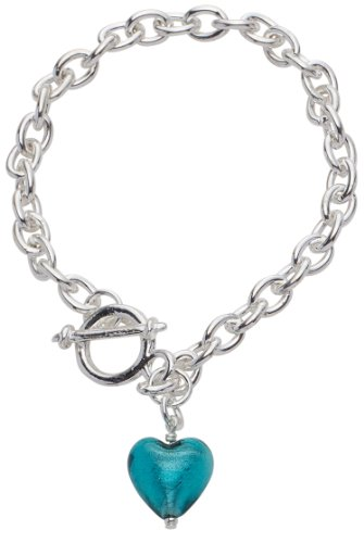 Silver Plated T Bar Bracelet with a Teal Genuine Murano Glass Heart