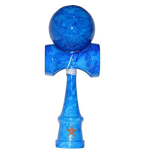 Full Marble Blue Shinny Super Kendama, Super Sticky, Japanese Wooden Toy, Free String, USA Seller