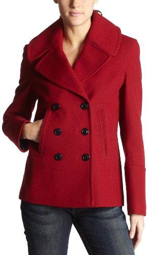 Fleet Street Women's Melton Coat,Tango Red,Large