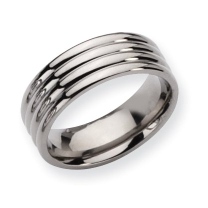Titanium Grooved 8mm Polished Band, Size 9