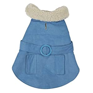 East Side Collection 20-Inch Cotton/Polyester Sherpa Corduroy Dog Coat, Large, Blue