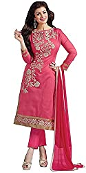 Yashvi Arts Women's Clothing Designer Party Wear Low Price Sale Offer Pink Color Cotton Embroidered Free Size Salwar Kameez Suit Dress Material