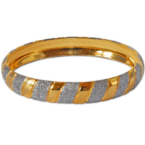 Gold and Rodium Plated Bangle Bracelets Costume Jewelry in Indian-Style 2.5 inches
