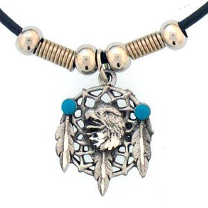 Native American Indian Inspired Eagle Dream Catcher Pendant Necklace - Durable Pewter - Bonus Cord Necklace