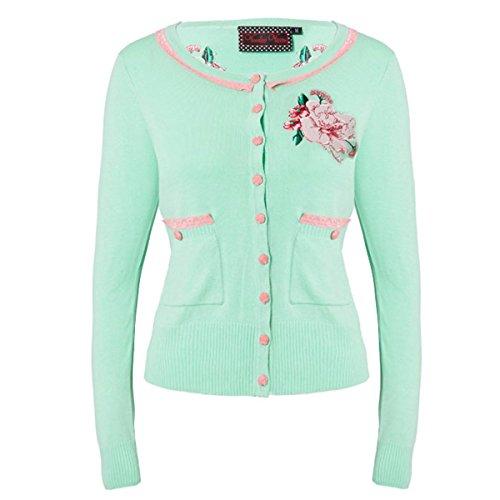 Voodoo Vixen Nuova Verde Rosa floreale rockabilly vintage a maglia fine Cardigan Cardi Maglia con Esclusivo Nero Vintage Amore Inglese di Green Mint XL