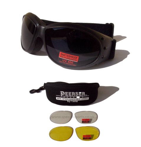 Peerser Motorcycle/SkyDiving Anti-Fog ShatterProof Safety Goggles|Interchangeable Lens