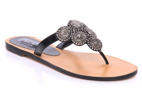 Cheap Unze Women Crystal Detailing Leather Flip-Flop Summer, Party, Evening,Wedding Slipper – Ab-3245l (B007V9WER0)
