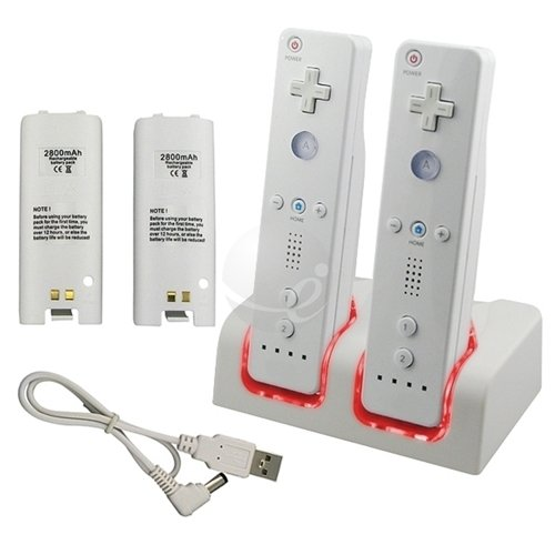 2 2800 Battery+Dual Remote Controller Charger For Wii [Nintendo Wii]