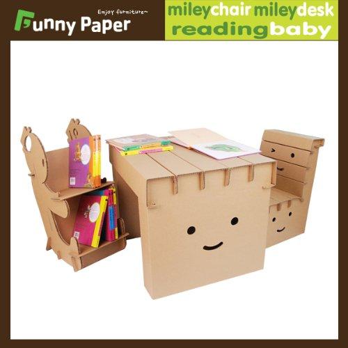【子供用ダンボール家具】学習机「楽しい図書館」(チェアx1、デスクx1、本棚x1)