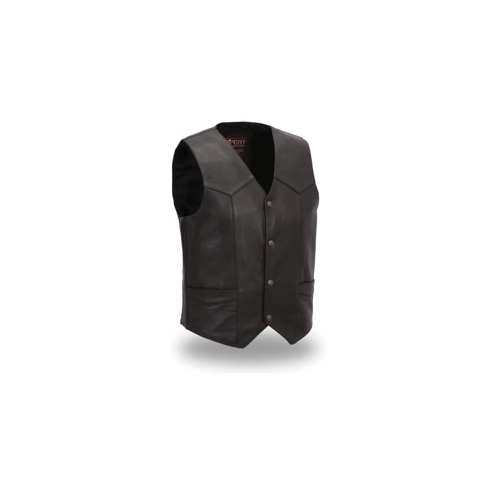 First MFG XPERT Performance Mens Premium Traditional Leather Vest. Satin Lined. Snap Front. XPM600NKD