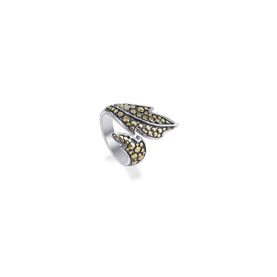 Sterling Silver Gold Spotted Leaf Band Ring Size 7 Jewelry