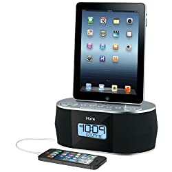 iHome iDN38 Dual Alarm FM Clock Radio for iPad/iPhone (Dock Not Compatible w/ iPhone 5/6 or any Lightning Models) USB Out Charging for all USB Devices