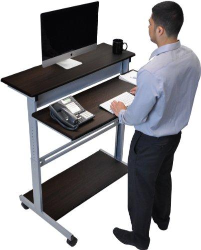 40 Dark Walnut Shelves Mobile Ergonomic Stand Up Desk