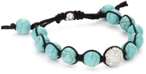 Tai Turquoise-Color Beads with Single Pave Swarovski Crystal Ball Bracelet