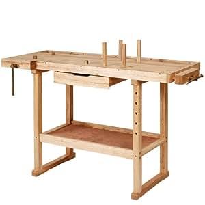 tabli de menuisier en bois massif avec tau de serrage 1 tiroir env 117 x 47 5 x 83 cm. Black Bedroom Furniture Sets. Home Design Ideas